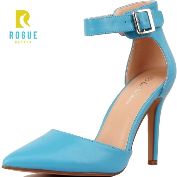 860bdf52a3 Shoes | Sky Blue Pointed Toe Ankle Strap Heels Pumps | Poshmark